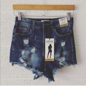 Ariya High Waist distressed shorts sz: 27 NWT
